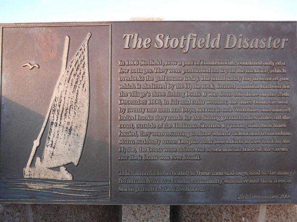 Plaque at the memorial for the Stotfield disaster