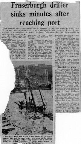 Newspaper cutting  of Hazael III FR107 at Scrabster