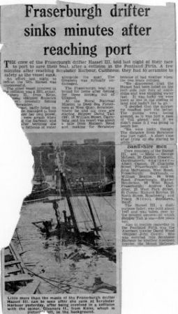 Newspaper cutting  of Hazael III FR107 at Scrabster
