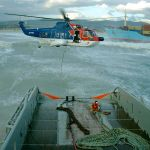 South African Coastguard Helicopter Transferring Tow Line