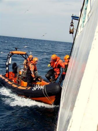 Fishery Officers boarding us in the North Sea