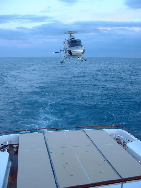 M/Y Ilona's Helicopter Coming Into Land