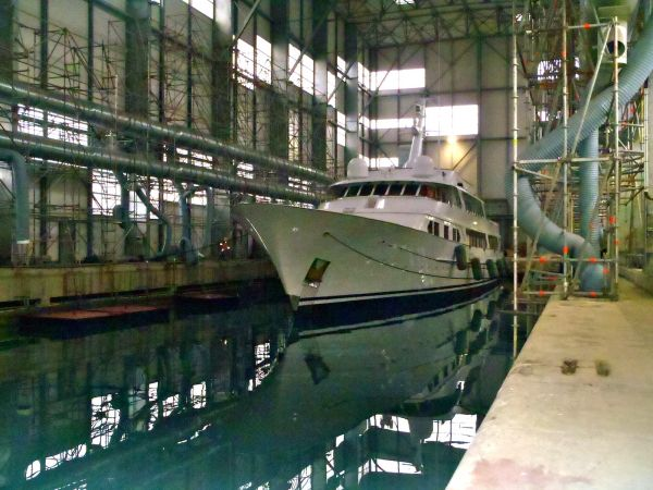 Elisabeth F in paint shed after respray