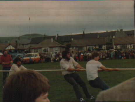 Tug O' war team. Girvan Lowland Gathering, 80s