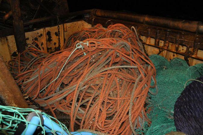 Old seine net rope