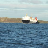 Ferry seen wandering round Forth