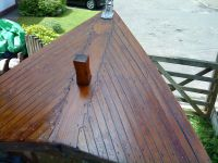 Louayne with her refurbished teak deck