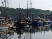 3 old fishing boats in a row
