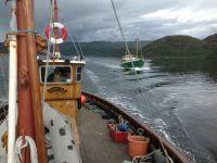 Round Bute fishing boat race ....finish line!